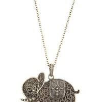 Long Necklace with Elephant Pendant