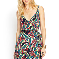 Tropical Faux Wrap Dress