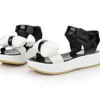 Wholesale 2012 sweet lovely gentlewoman bowknot color matching platform sandals Z-FSS-L-2 white - Lovely Fashion