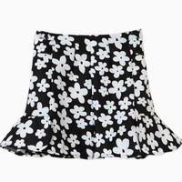 Black Mini Flared Skater Skirt w/ White Floral Print