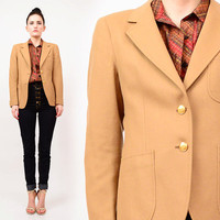 60s Camel Wool Skinny Fitted Preppy Blazer Menswear Tailored Jacket Gold Crest Buttons XS S