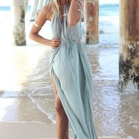 Blue Sleeveless Halter Draped Maxi Dress w/ Cutouts