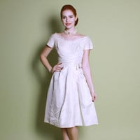 50s Cream Silk WEDDING DRESS / Lace Bodice & Cascading Pleats, xs