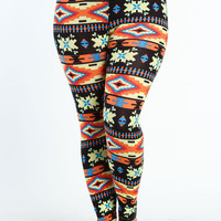 PLUS SIZE DESERT TRIBAL LEGGINGS