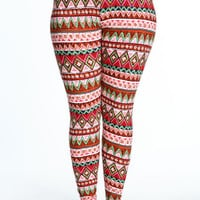 PLUS SIZE COLORFUL TRIBAL LEGGINGS