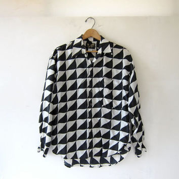 vintage 80s silk shirt. geometric silk blouse. op art top.
