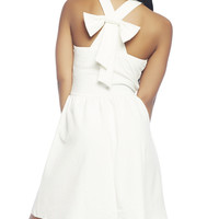 White Halter Skater Dress | Wet Seal