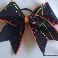 Paint Splatter Cheer Hair Bow Cheerleading