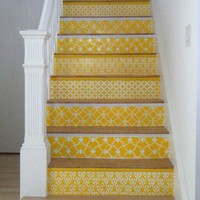 yellow pattern staircase