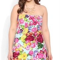 Plus Size Strapless Light Blue Floral Print Skater Dress