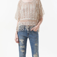 CROCHET TOP WITH FRINGES AT THE SIDES - Shirts - Woman - ZARA United States