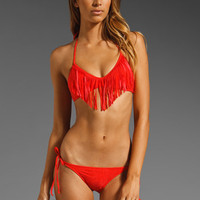 Sofia by Vix Sexy Suedey Fringe Crop Bandeau in Fire at Revolve Clothing - Free Shipping!