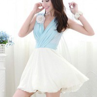 Marie Antoinette Style Light Blue And White Color Block V Neck Chiffon Dress | GlamUp - Clothing on ArtFire