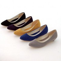 Woollen tine head and shallow mouth multi-color shoes - Lovely Fashion