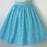 Blue on Blue Damask Filigree Full Retro Skirt / by Eclectasie