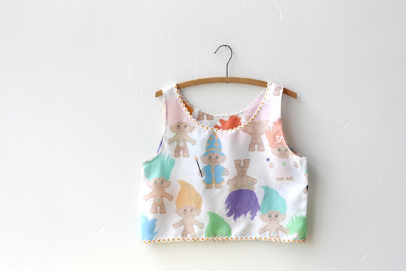 90's troll crop tank by napkinitems on Etsy