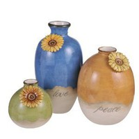 Grasslands Road Indian Summer Bud Vases with Sunflower Necklace Embellishments, 3 styles, set of 3