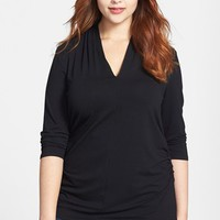 Vince Camuto Pleated V-Neck Top (Plus Size)