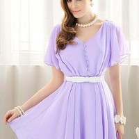 Beaded Ruffles Lavender Dress