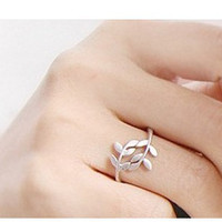 tree leaf and branch ringantiqued silverSALE by qizhouhuang
