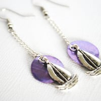Nautical Earrings featuring Sailboats and Purple by Meghanlee5