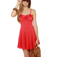 Cute Coral Red Dress - Fit and Flare Dress - Sundress - &amp;#36;45.00