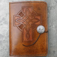 Handmade Tan Celtic Cross Kindle Cover | lindasgarden - Leather Craft on ArtFire