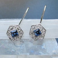 Blue Sapphire 14k White Gold Dangle Earrings September Birthstone G...... | PristineJewelry - Jewelry on ArtFire