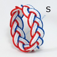 Flag Colors Patriotic Sailor Knot Rope Bracelet Small | MysticKnotwork - Jewelry on ArtFire