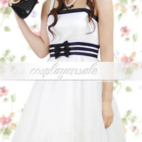 White Spaghetti Bow Cotton School Lolita Dress [T110373] - $82.00 : Cosplay, Cosplay Costumes, Lolita Dress, Sweet Lolita