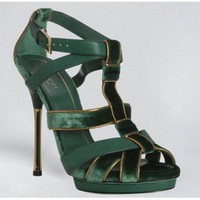 Gucci Green Piped Velvet 'malika' Platform Sandals