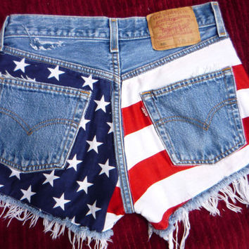 Vtg Made TO Order American flag cut off shorts by pinkandblue1