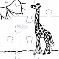 Instant download puzzle, Giraffe coloring pages puzzles,  children's coloring puzzle