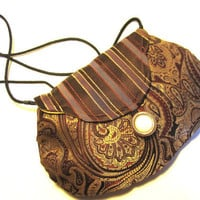 Small Fabric Purse or Clutch Red Gold by handartdesignstudios