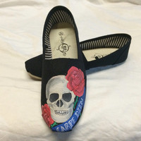 Skull and Roses Carpe Diem Custom Hand Painted Toms Tattoo Style Shoes