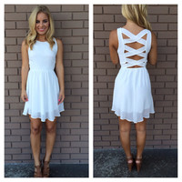 White Criss Cross Back Dress