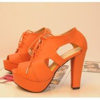 Wholesale European and American style lace-up hallow out fish mouth sandals SY-C0530 orange - Lovely Fashion