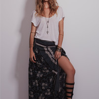 Free People Womens Squared Off Convertible Maxi Skirt - Midnight Combo,