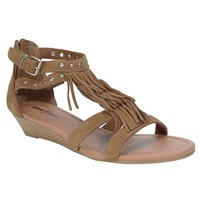 Minnetonka Monaco Triple Fringe Wedge Sandal EXTENDED SIZES AVAILABLE at Von Maur