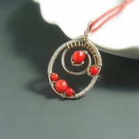 Red coral necklace sterling silver plated handmade natural jewelry