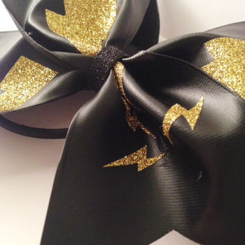 Gold Lightning Cheerleading Bow
