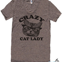 CRAZY CAT lady t shirt  american apparel  S M L XL by skipnwhistle