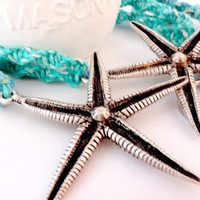Coastal Home Decor, Starfish Macrame Curtain Tiebacks, Beach Cottage Chic