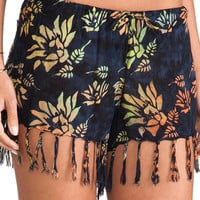 Indah Playa Drawstring Fringe Short in Navy