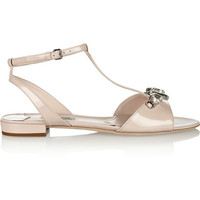 Miu Miu | Crystal-embellished patent-leather sandals | NET-A-PORTER.COM