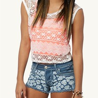 Lace Neon Crop Top 2fer