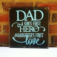 Sign Quote Distressed  Wood Block  Home Decor Gift for Dad