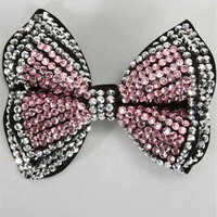 Pink And Silver Rhinestone Hair Bow