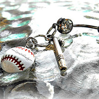Baseball or Softball with Bat Belly Ring, Sports, Piercing, Athletic, Athlete, Belly button, Navel, Summer, Beach, Ready to Ship