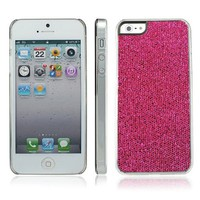 niceEshop(TM) Hot Pink Sparkling Glitter Bling Hard Case Cover fit for the new iPhone5 5S+Screen Protector